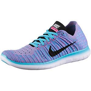 Nike Free Run Flyknit Laufschuhe Damen hellblau