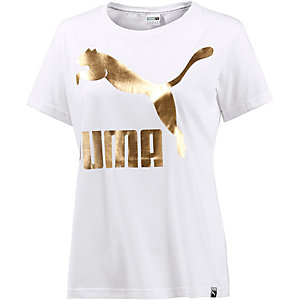PUMA T-Shirt Damen weiß/gold