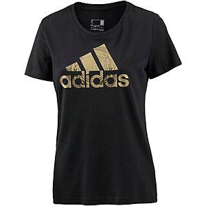 adidas T-Shirt Damen schwarz/gold