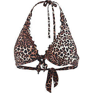 GUESS Bikini Oberteil Damen braun/animal