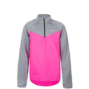 Nike Element Halfzip Laufshirt Kinder pink / grau