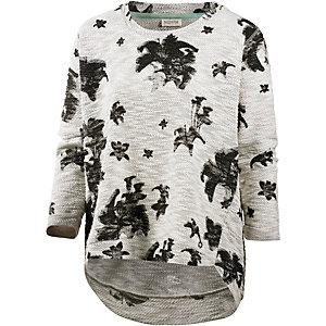 nümph Sweatshirt Damen graumelange/schwarz