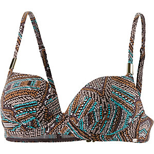 Skiny African Tribe Bikini Oberteil Damen braun/türkis