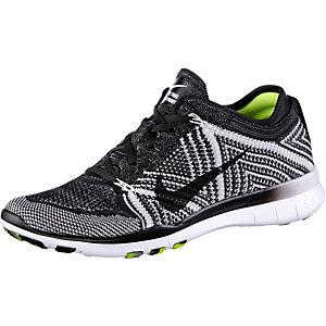 Nike Free Trainer Flyknit Fitnessschuhe Damen schwarz/weiß/neongelb