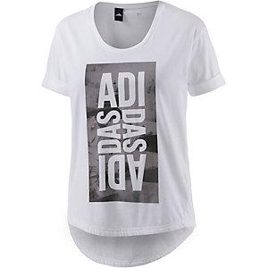 adidas Printshirt Damen weiß/grau