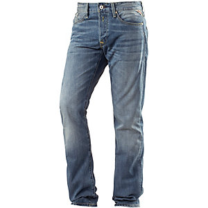 REPLAY Waitom Straight Fit Jeans Herren light denim/destroyed denim