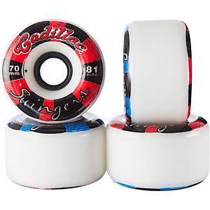 Cadillac Swingers 70mm/81a Longboardrollen weiß/rot/schwarz