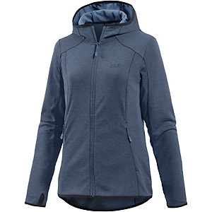 jack wolfskin drynetic hooded fleecejacke damen blau im. Black Bedroom Furniture Sets. Home Design Ideas