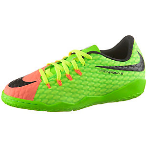 Nike JR HYPERVENOMX PHINISH III IC Fußballschuhe Kinder neongrün/orange