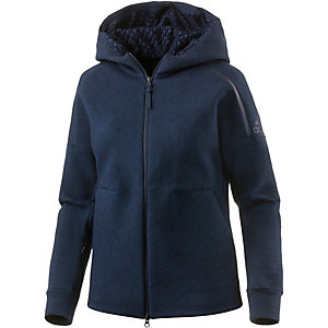 adidas zne travel sweatjacke damen navy melange im online. Black Bedroom Furniture Sets. Home Design Ideas