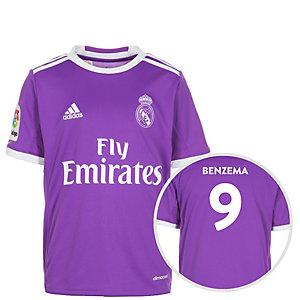 adidas Real Madrid 16/17 Auswärts Benzema Fußballtrikot Kinder lila / weiß