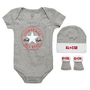 CONVERSE All Star Babyset Kinder grau / weiß / rot