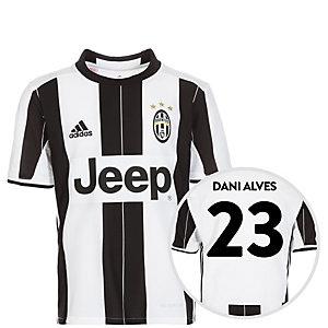adidas Juventus Turin 16/17 Heim Alves Fußballtrikot Kinder weiß / schwarz