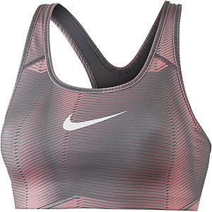 Nike Pro Classic Swoosh Pyramid Sport-BH Damen neonpink/dunkelgrau