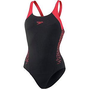 SPEEDO Boom Splice Muscleback Schwimmanzug Damen schwarz/rot