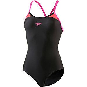 SPEEDO Splice Thinstrap Racerback Schwimmanzug Damen schwarz/pink