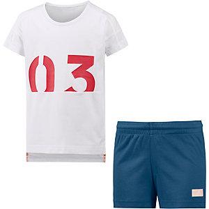 adidas Set Shirt und Hose Mädchen weiß/blau