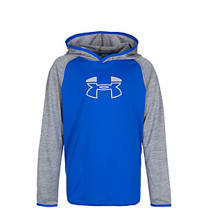 Under Armour HeatGear Tech Block Hoodie Kinder blau / grau