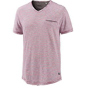 Bench V-Shirt Herren weinrot gestreift