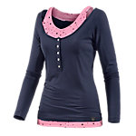 WLD Under The Cherry Moon Layerlangarmshirt Damen dunkelblau/rose