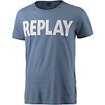 REPLAY Printshirt Herren grau/blau