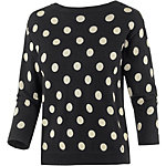 nümph V-Pullover Damen schwarz/weiß