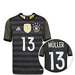 adidas DFB Müller EM 2016 Auswärts Fußballtrikot Kinder grau / weiß / grün