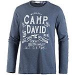 CAMP DAVID Printlangarmshirt Herren dunkelblau