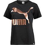 PUMA T-Shirt Damen schwarz/gold