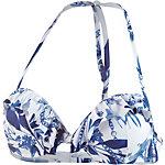 GUESS Bikini Oberteil Damen blau/weiß