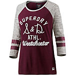 Superdry T-Shirt Damen bordeaux/hellgrau