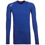Nike Pro Warm Compression Crew Funktionsshirt Herren blau / weiß