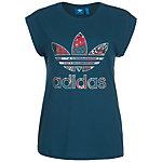 adidas Boyfriend Roll Up Trefoil T-Shirt Damen blau / bunt