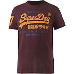 Superdry T-Shirt Herren bordeaux/gelb
