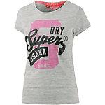 Superdry T-Shirt Damen grau/pink