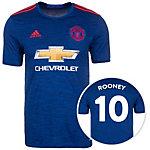 adidas Manchester United 16/17 Auswärts Rooney Fußballtrikot Herren blau / rot