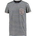 Khujo Printshirt Herren grau/blau gestreift