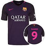 Nike FC Barcelona 16/17 Auswärts Suárez Fußballtrikot Herren lila / schwarz / pink