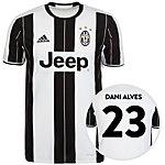 adidas Juventus Turin 16/17 Heim Alves Fußballtrikot Herren weiß / schwarz