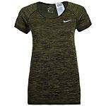 Nike Dri-FIT Knit Funktionsshirt Damen oliv / schwarz