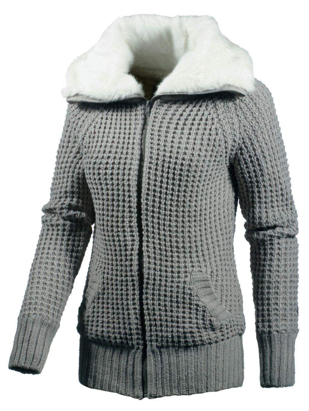 Strickjacke Damen in grau, Größe XL