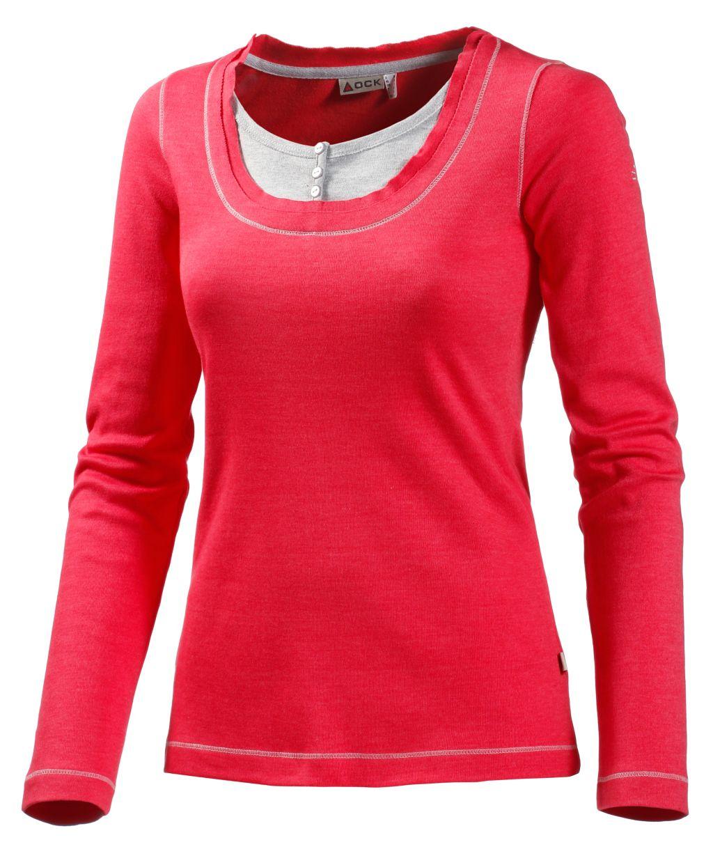 Artikel klicken und genauer betrachten! - OCK Langarmshirt im 2-in-1 Look. Einsatz mit Knopfleiste am Ausschnitt; kontrastfarbige Flatlocknähte; 100% Baumwolle (Biobaumwolle).   im Online Shop kaufen