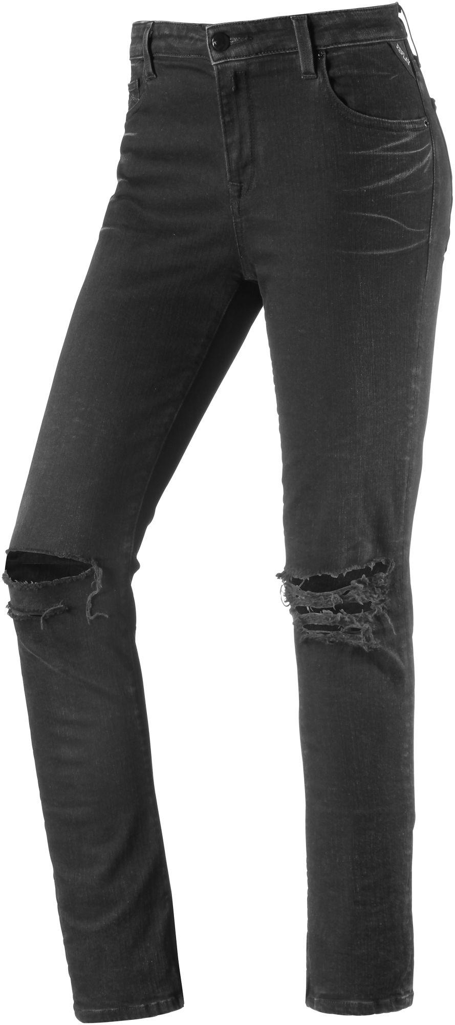 Cherilyn Skinny Fit Jeans Damen in black destroyed denim, Größe 28 / 30