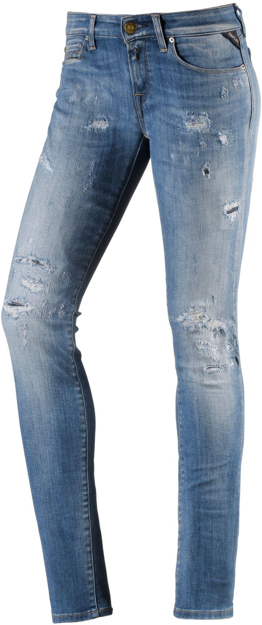 Rose Skinny Fit Jeans Damen in destroyed blue denim, Größe 28 / 34