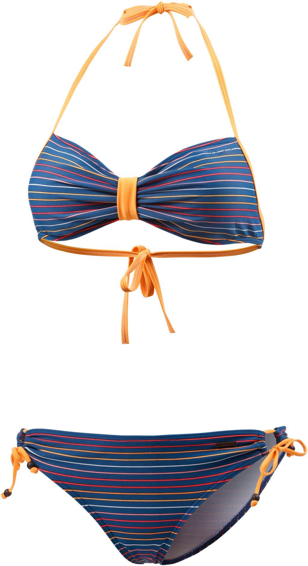 Morini Bandeau Bikini Damen in marine/papaya, Größe XL
