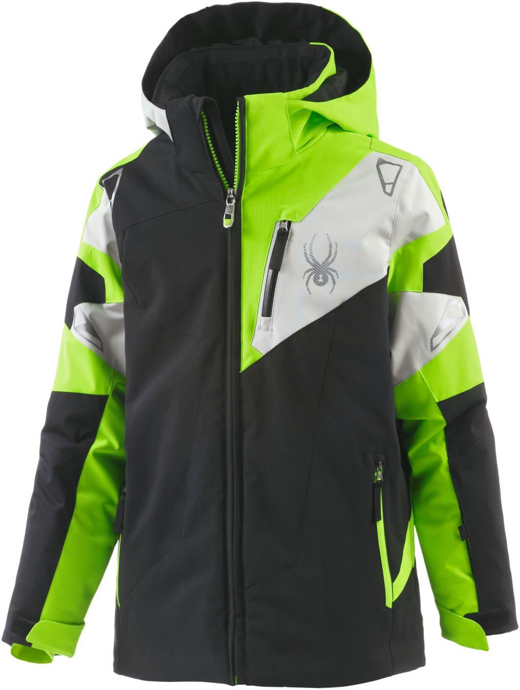 Skijacke Jungen in schwarz/grün/grau, Größe 128